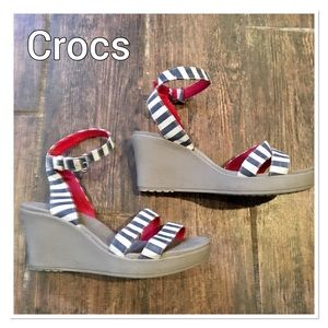 Crocs Nautical Striped Ankle Strap Wedges